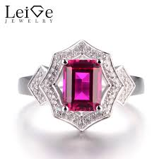 ruby emerald rings images Leige jewelry ruby silver rings proposal rings emerald cut red jpg