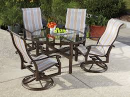 Landgrave Patio Furniture by Woodard Cortland Sling Aluminum Dining Set Courtdinset11
