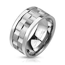 gear wedding ring stainless steel gear shaped center design spinner ring
