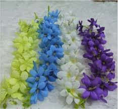 Blue Flower Vine - new elegant white artificial hanging orchids plants fake silk