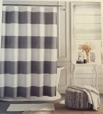 Navy And White Striped Shower Curtain Amazon Com Caro Home Fabric Shower Curtain Wide Navy Blue White