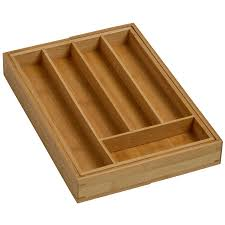 expandable bamboo cutlery tray natural collection select