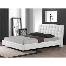 baxton studio zeller white modern bed with upholstered headboard