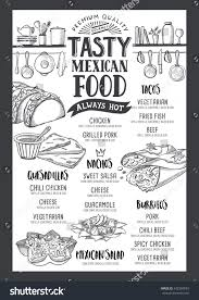 mexican food menu restaurant cafe design stock vector 642389545