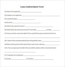 sample leave authorization form 5 free documents in pdfleave