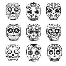 sugar skull set day of the dead design stock vector