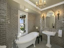 Natural Bathroom Ideas by Pedastal Tub Grey Brick Tiles Bathroom Natural Bathroom Tile