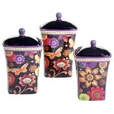 Purple Canisters For The Kitchen Coloratura Canister Set 3 Piece Set 57505 The Home Depot