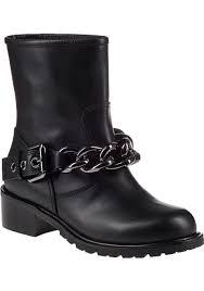 black leather biker boots giuseppe zanotti chain biker boot black leather in black lyst