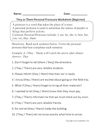 Nouns Worksheet They Or Them Personal Pronouns Worksheets Beginner Birthday