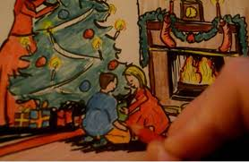 asmr drawing christmas card tree presents children fireplace