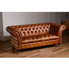 Vintage Leather Chesterfield Sofa Harris Tweed Or Vintage Leather Chesterfield Sofa By The Orchard
