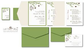 green wedding invitations birdcage wedding invitation green chagne and ivory a