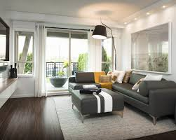 Gray Couch Decorating Ideas by Flooring Modern Living Room Design With Dark Hardwood Floors