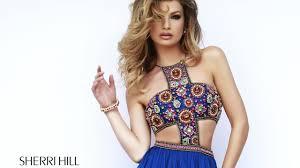 sherri hill 11206 prom dress cutout bodice long pleated skirt