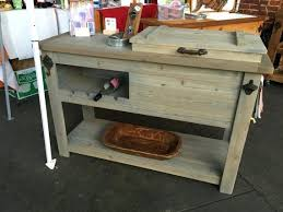 outdoor rustic wooden cooler bar serving console table cart mini