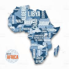 map of africa with country names vector detailed map of africa with borders and country names stock
