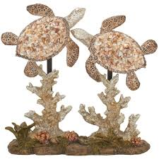 benzara 54957 polystyrene double sea turtle ruby skies home decor