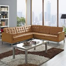 light brown leather corner sectional couch with rectangle gray