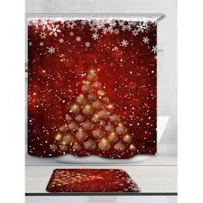 Snowflake Curtains Christmas Snowflakes Balls Christmas Tree Patterned Bath Curtain Red White