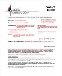 contact report templates 8 free word pdf format download