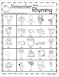 free november rhyming worksheets fa ll pinterest worksheets