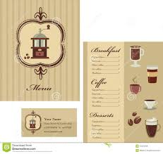 coffee shop menu template menu and business card template design coffee stock vector