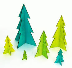 Christmas Cutout Decorations Evergreen Tree Wood Cutout Contemporary Winter Holiday Forest