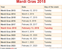 when is mardi gras 2018 2019 dates of mardi gras