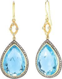 blue drop earrings weinstock 18k yellow gold sterling silver blue topaz