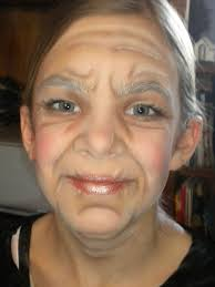 my 11 year old in se make up for her role as granny in little red