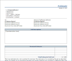Estimate Sheet Template Estimate Templates Free Layout Format