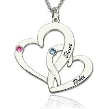 Necklace With Name And Birthstone Two Open Heart Necklace With Name U0026 Birthstone