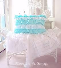 aqua teal ruffles polka dot duvet comforter cover set