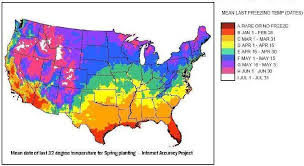 temperature map usa january and last date of freezing temperatures and annual u s