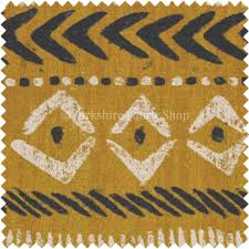 tribal inspired aztec pattern printed cotton linen yellow