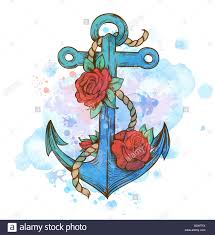 vintage anchor and roses on a blue watercolor stock