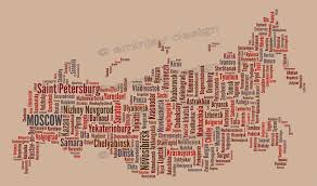 Brown Line Map Russia Typography Map