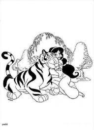 princess jasmine favourite pet rajah tiger coloring