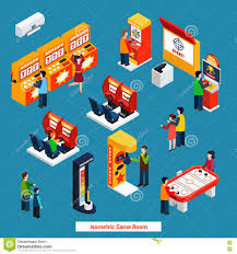 game room isometric poster stock vector image 70826929