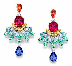 piaget bijoux piaget earrings set with multi colored gemstones