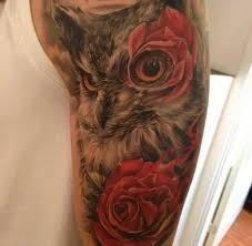 motif owl with roses tattoo ideas tattoo designs