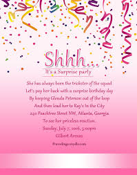 surprise birthday party invitation wording wordings and messages