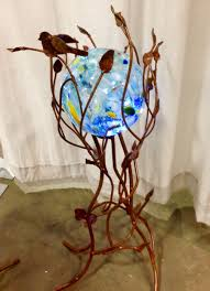 Copper Gazing Ball Iron Twig Gazing Ball Or Plant Stand 40 Tall