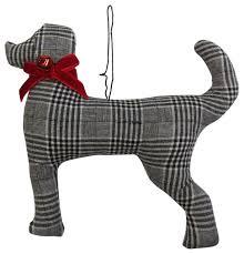 glen plaid dog christmas ornament black and white contemporary