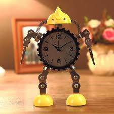 deformation robot alarm clock creative mute clock message clip