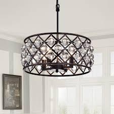 Drum Chandelier Lighting 4 Light Crystal Drum Chandelier Ceiling Fixture Oil Rubbed Bronze