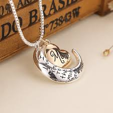 I Love You To The Moon And Back Personalized Necklace Jeulia Polishing Silver With Gold Plated Necklace Jeulia Jewelry