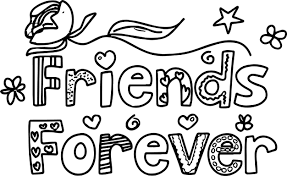 pal of a colorful friends forever words with designs coloring page