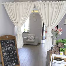 new korean beige lace polyester kitchen curtains embroidered door